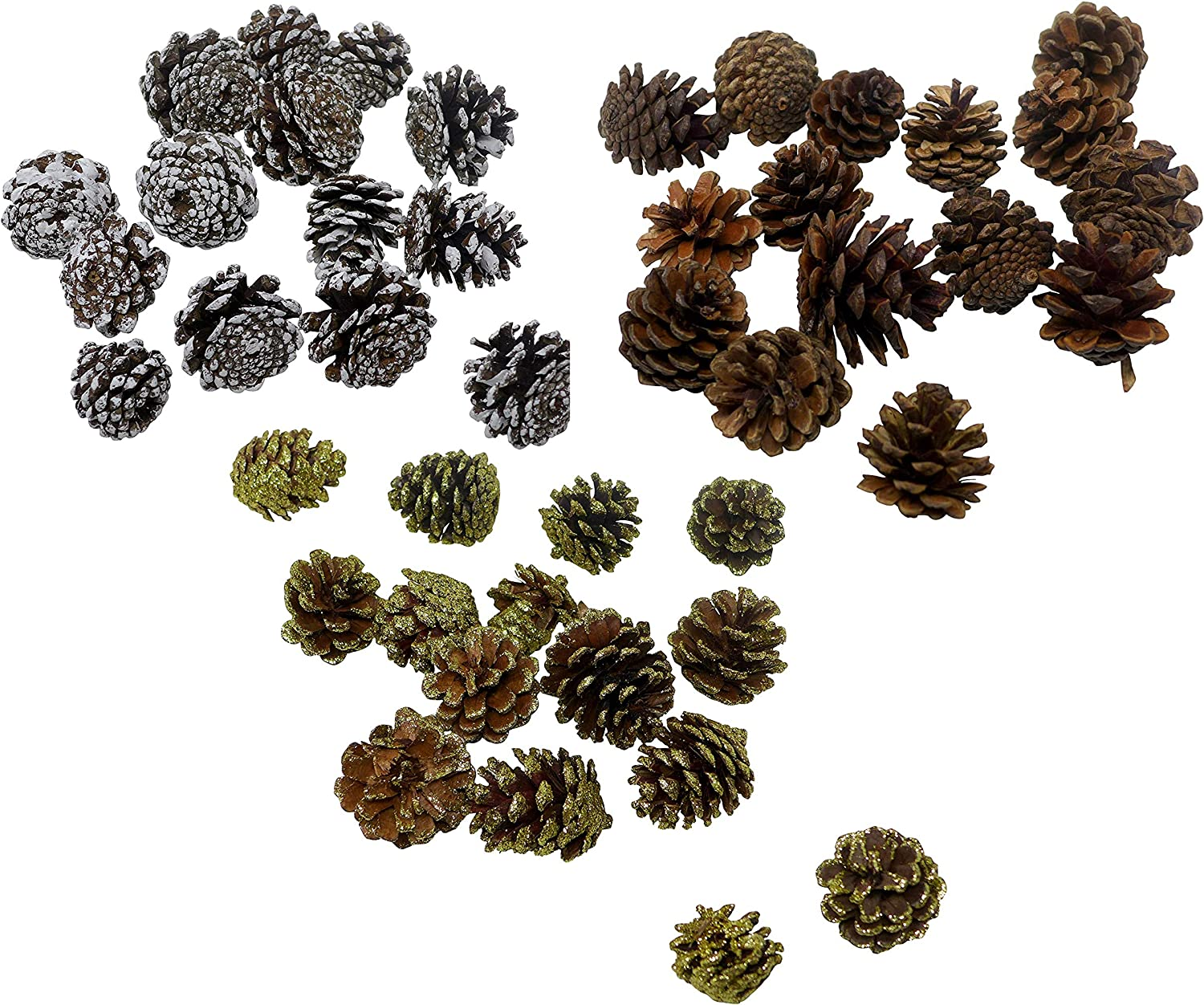 45-Pcs Party Decorative Pine Cones - Natural, Glitter Gold & White | Vase Fillers, Table Scatter, Home Decor, Bowl Display, Party Supplies