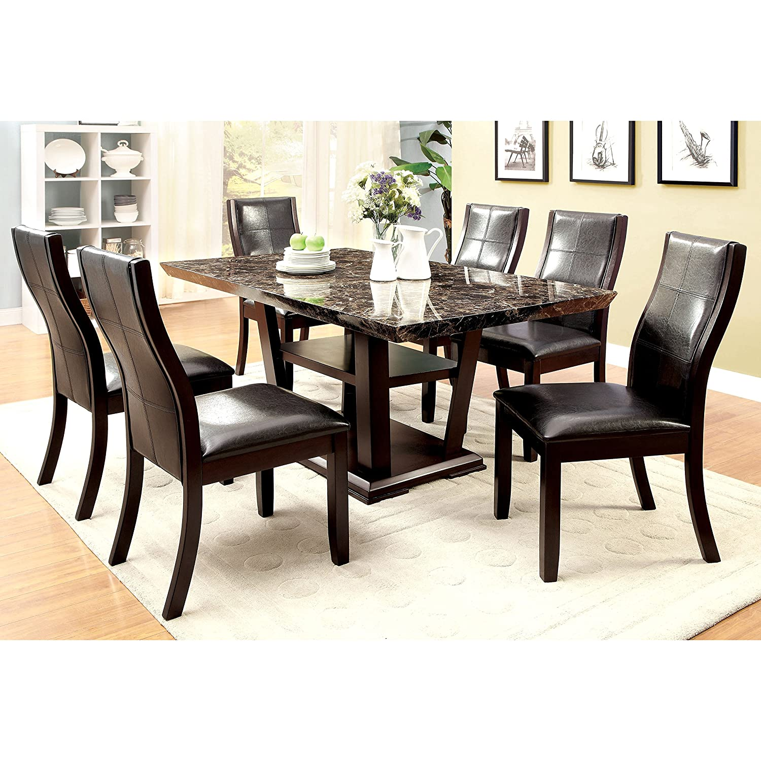 Amazon Furniture of America Elivia Modern Faux Marble Dining