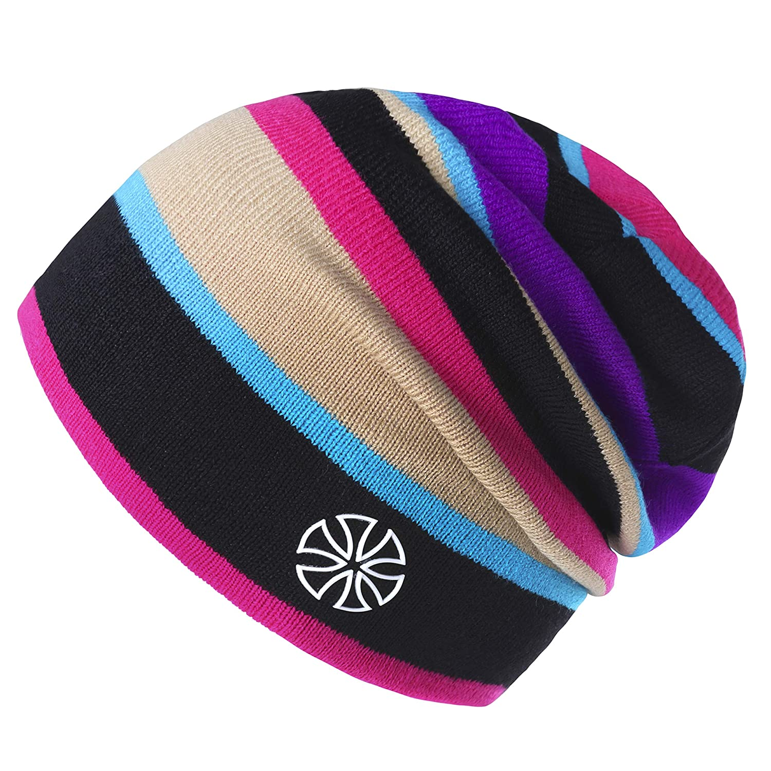30d47a95967ee Botack Women Mens Beanie Hat Baggy Striped Knitted Hat Warm Skull Cap for  Winter Walking Running Skiing Cycling