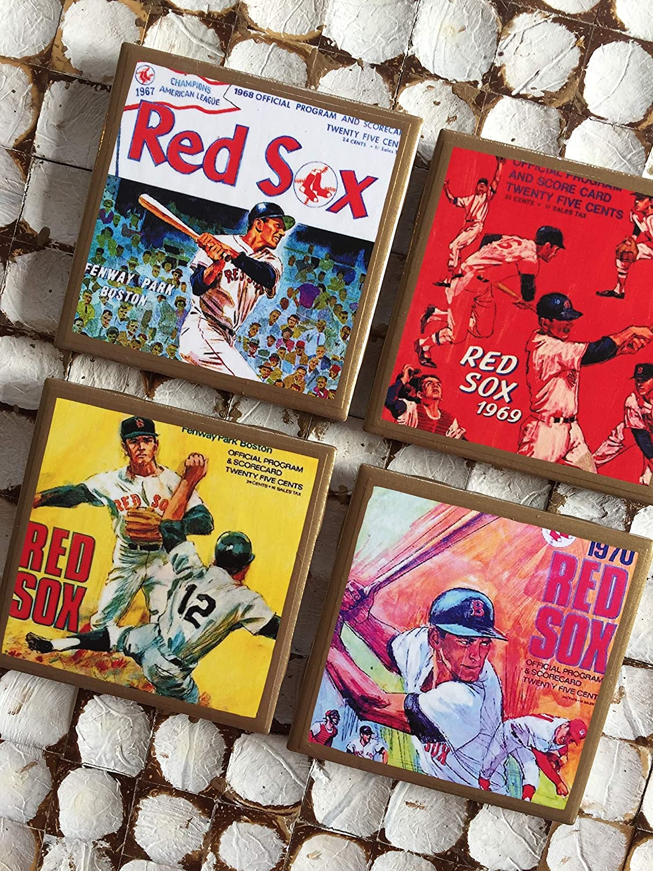 COASTERS Retro Boston baseball program cover coasters with gold trim