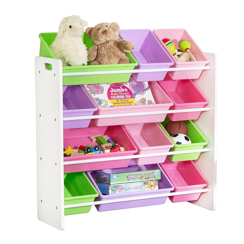 HoneyCanDo SRT-01603 Kids Toy Storage Organizer With Bins Pastel