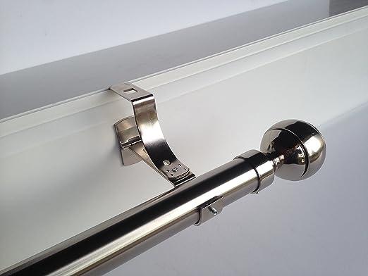 Geko - Pieza de soporte para barra de cortinas (diámetro: 28 mm), especial para cajón de persiana con ranura, Níquel.: Amazon.es: Hogar