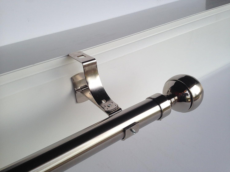 1 support sans perçage GEKO pour tringle à rideaux diamètre 28 mm - Spécial caisson de volet roulant à rainure - Colori : Nickel MYSTERY MERIDIAN LDA