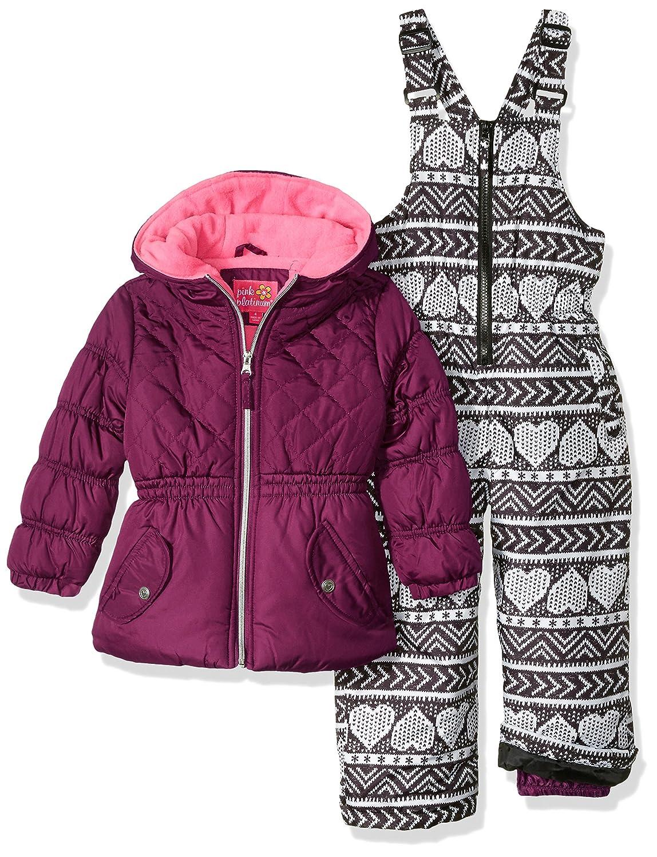 Pink Platinum girls Quilted Jacket Heart Print Snowsuit 98556