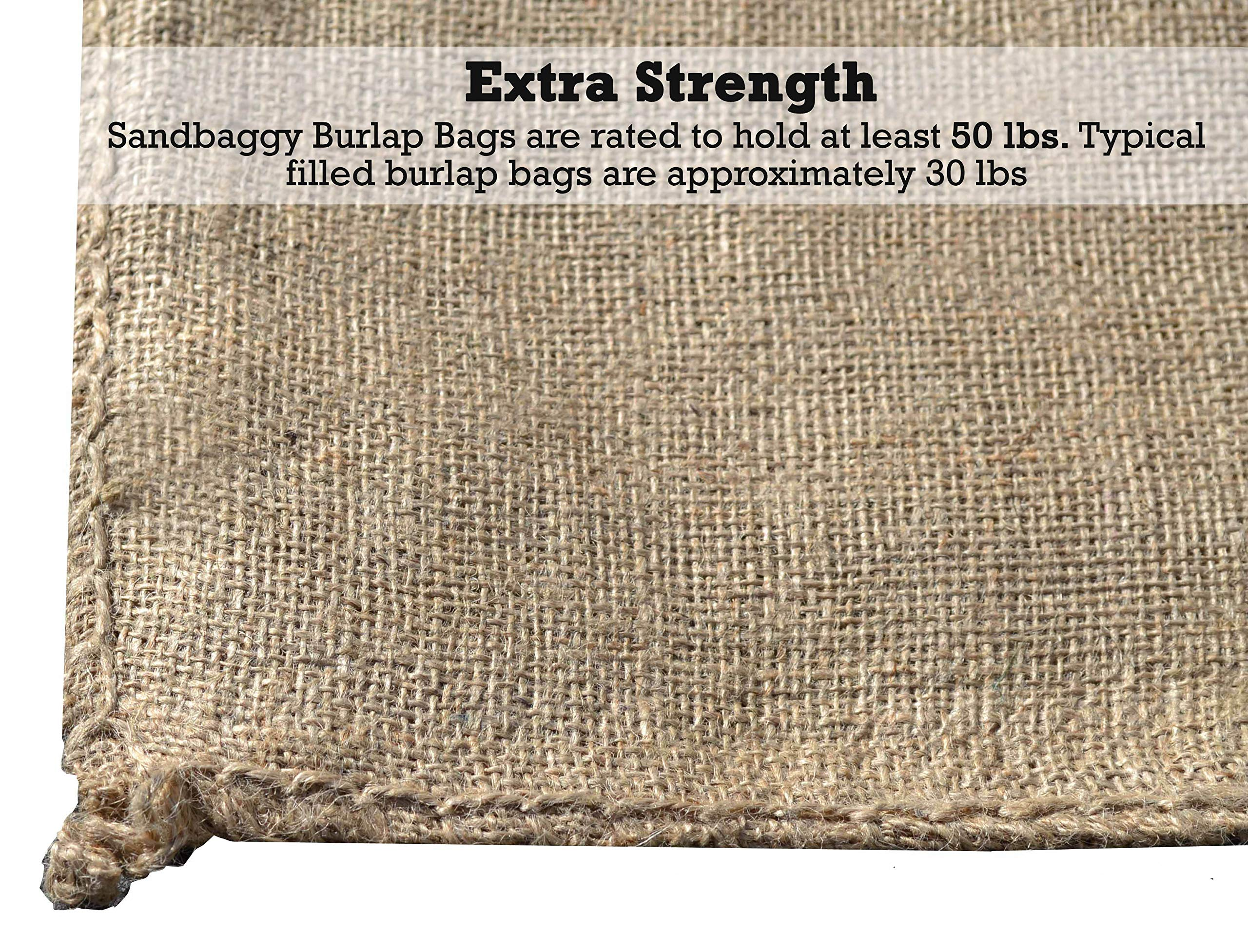 Sandbaggy Burlap Sand Bag - Size: 14'' x 26'' - Sandbags 50lb Weight Capacity - Sandbags for Flooding - Sand Bag - Flood Water Barrier - Water Curb - Tent Sandbags - Store Bags (5 Bags) by Sandbaggy (Image #3)