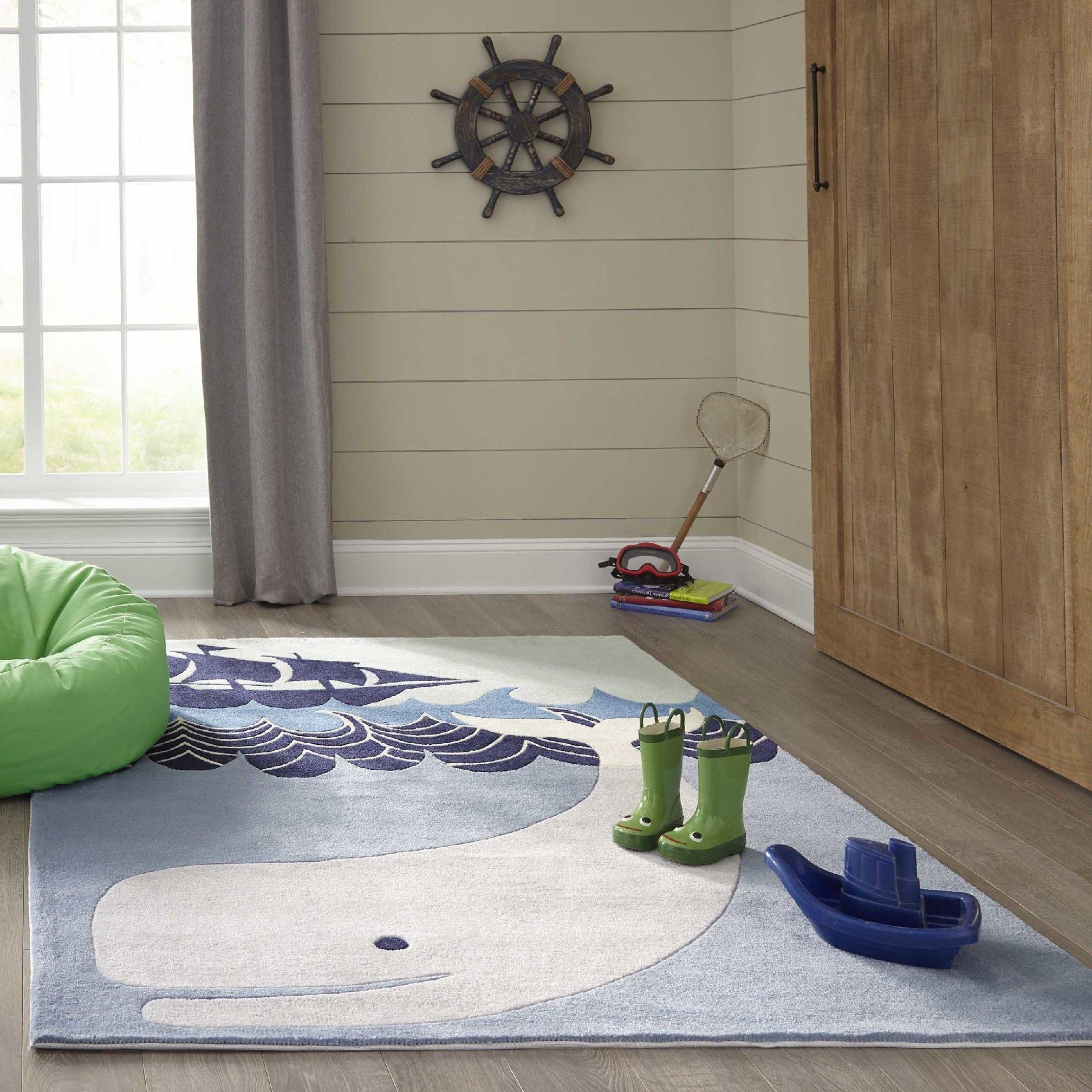 Fun Underwater Whale Motif Area Rug, Nautical Geometric Ocean Waves Pattern, Rectangle Indoor Living Room Doorway Hallway Kids Bedroom Carpet, Lush Trendy Sea Animals Themed, Navy, Blue, Size 3' x 5'