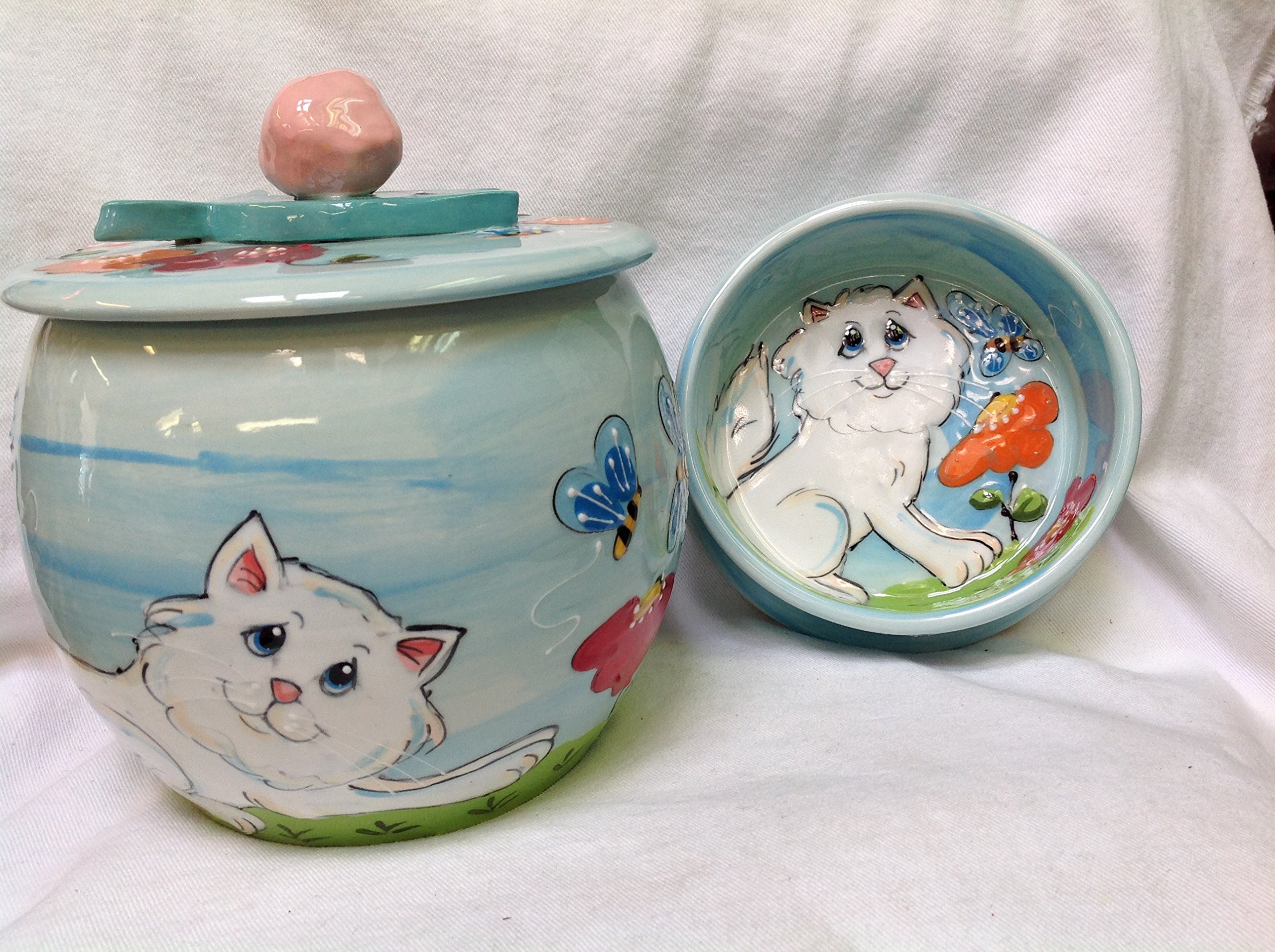 6'' Cat Bowl for Food or Water and Treat Jar, Personalized at no Charge. Signed by Artist, Debby Carman.