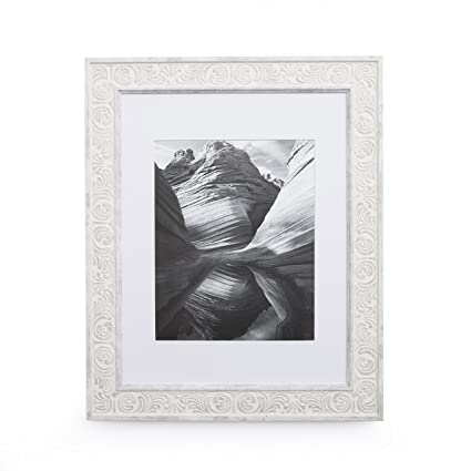 Amazon.com - 11x14 Picture Frame Distressed White - Matted to 8x10 ...