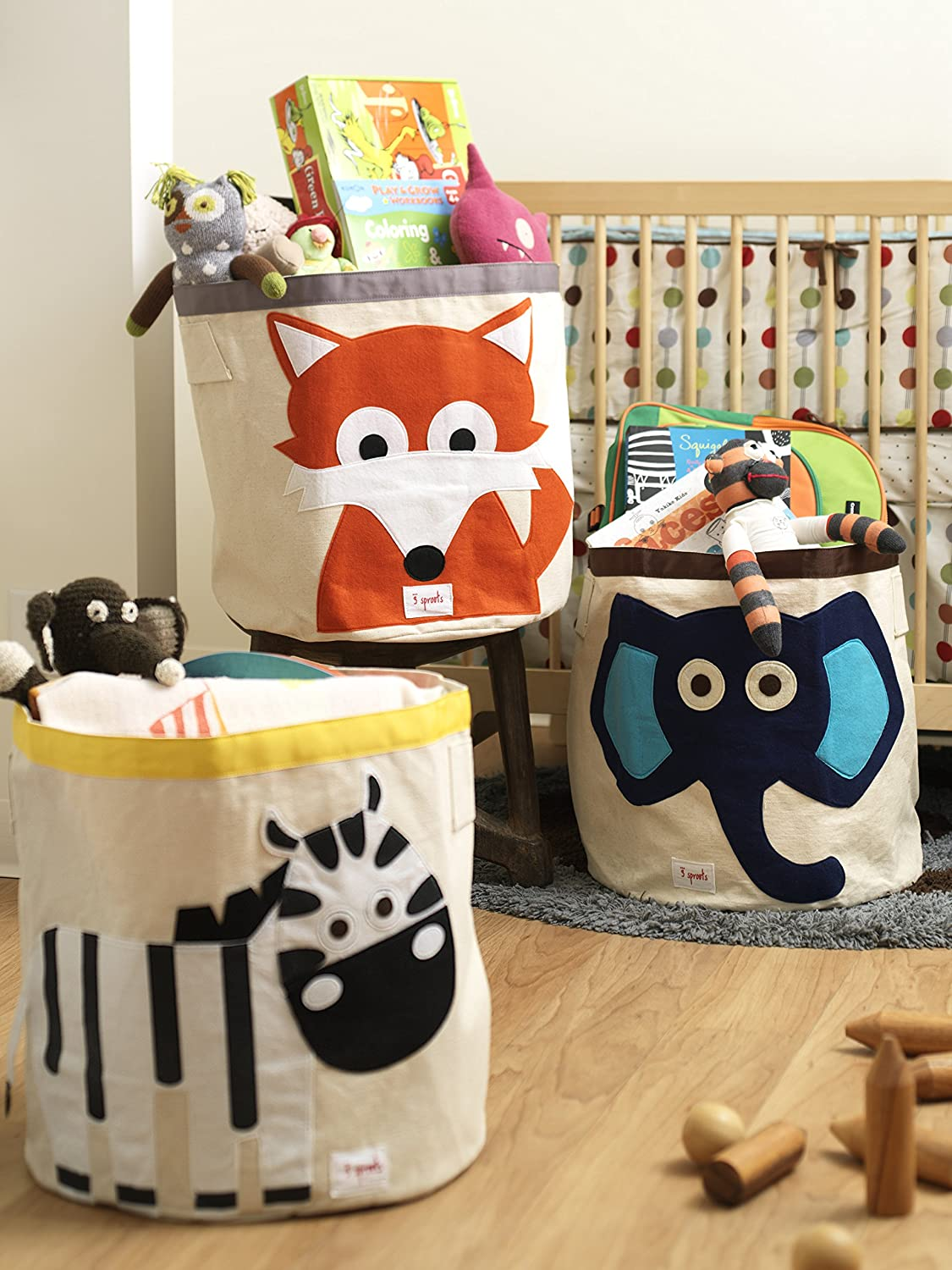 3 Sprouts Canvas Storage Bin Laundry and Toy Basket for Baby and Kids