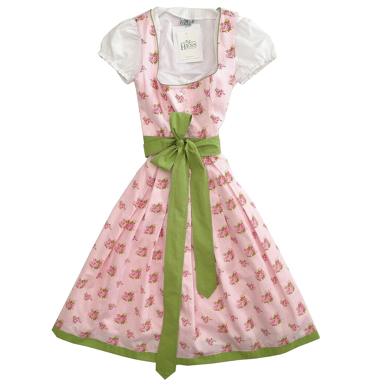 Berwin&Wolff Damen Dirndl *BAD ISCHL* rosa/weiß mit grünem Schürzenband und weißer Bluse