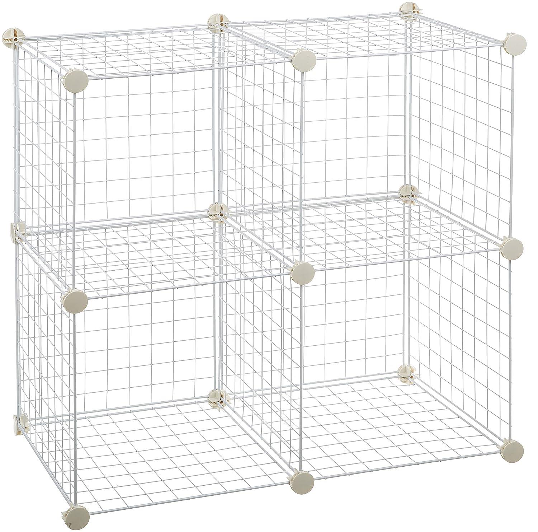 AmazonBasics 4 Cube Wire Storage Shelves - Black CUBE-4BK