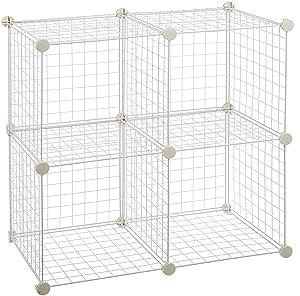 AmazonBasics 4 Cube Wire Storage Shelves - White