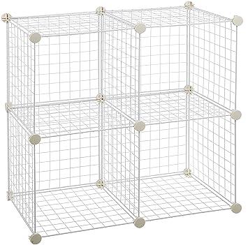 Amazon.com: AmazonBasics 4 Cube Wire Storage Shelves - White: Home ...