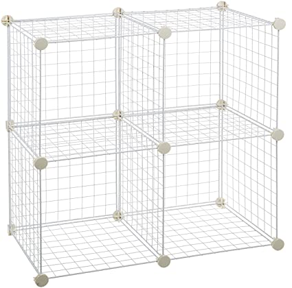 Beau AmazonBasics 4 Cube Wire Storage Shelves   White