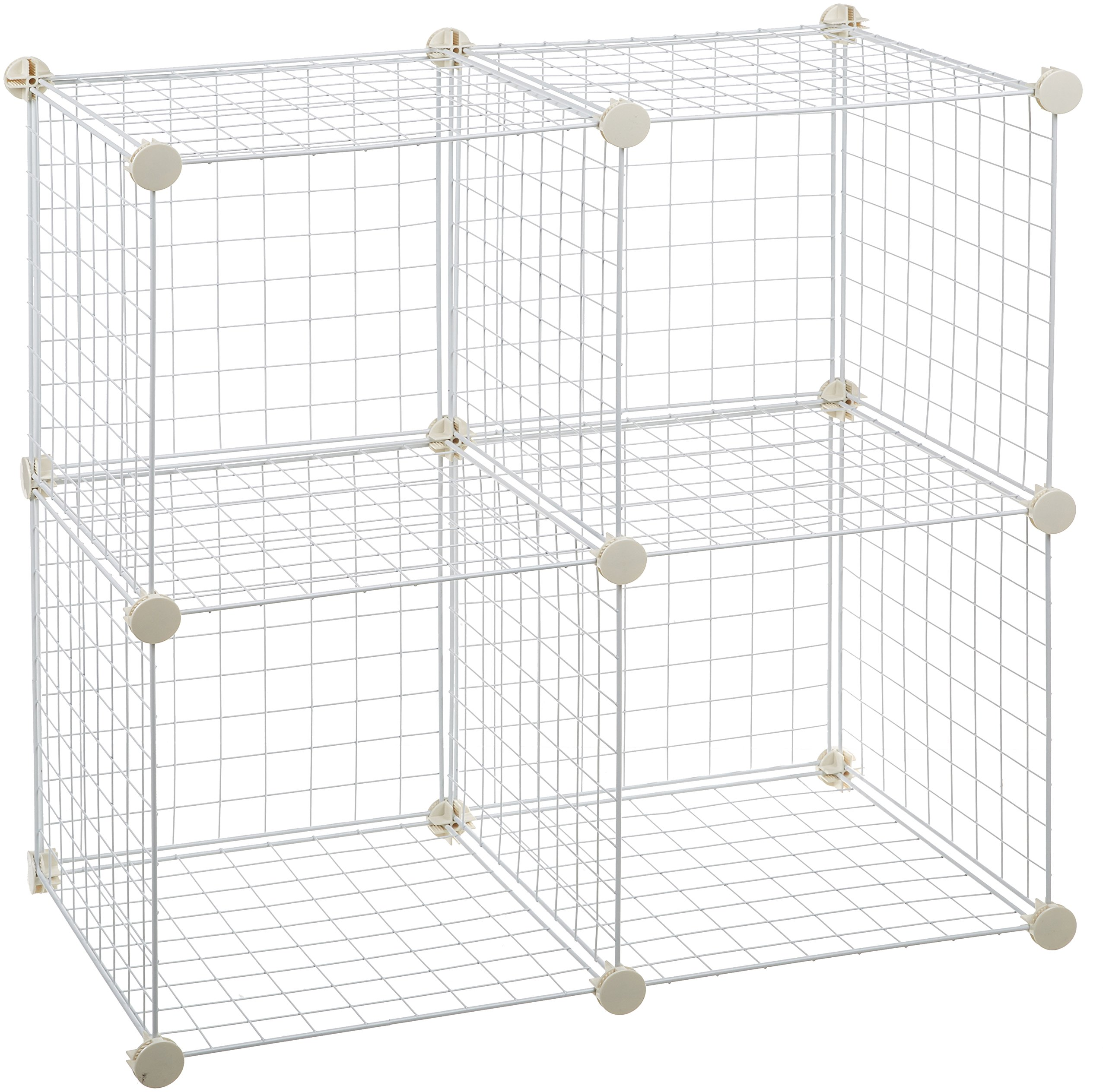 AmazonBasics 4 Cube Wire Storage Shelves - White