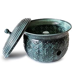 Garden Hose Holder Storage Pot Copper with Bonus Lid Antique Green Finish Lattice Steel