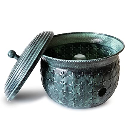 Merveilleux Garden Hose Holder Storage Pot Copper With Bonus Lid Antique Green Finish  Lattice Steel