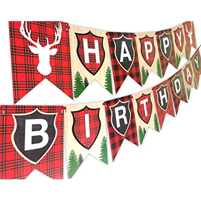 Woodland Reindeer Happy Birthday Banner Pennant Camping Party Banner by POP parties: Toys & Games