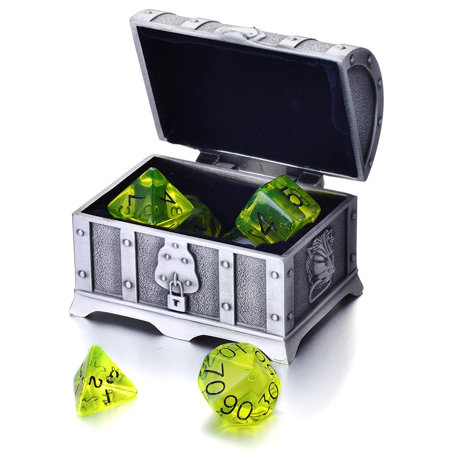 【激安セール】 REINDEAR 7 Die Polyhedral Role Playing Polyhedral Game Die Dice Set Role with Treasure Chest Diceコンテナ(透明オリーブグリーン) B071168TW3, daily-3:ae539f02 --- arianechie.dominiotemporario.com