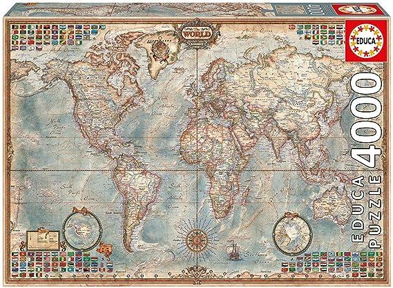Outletdelocio. Educa 14827. Puzzle 4000 Piezas. El Mundo Mapa Politico + Pegamento Puzzle. 58975/64553: Amazon.es: Juguetes y juegos