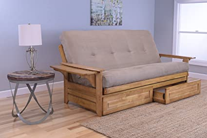 Michael Anthony Furniture Phoenix Full Size Sofa Futon and Drawer Set,  Butternut Wood Frame and Suede Innerspring Mattress, Peat