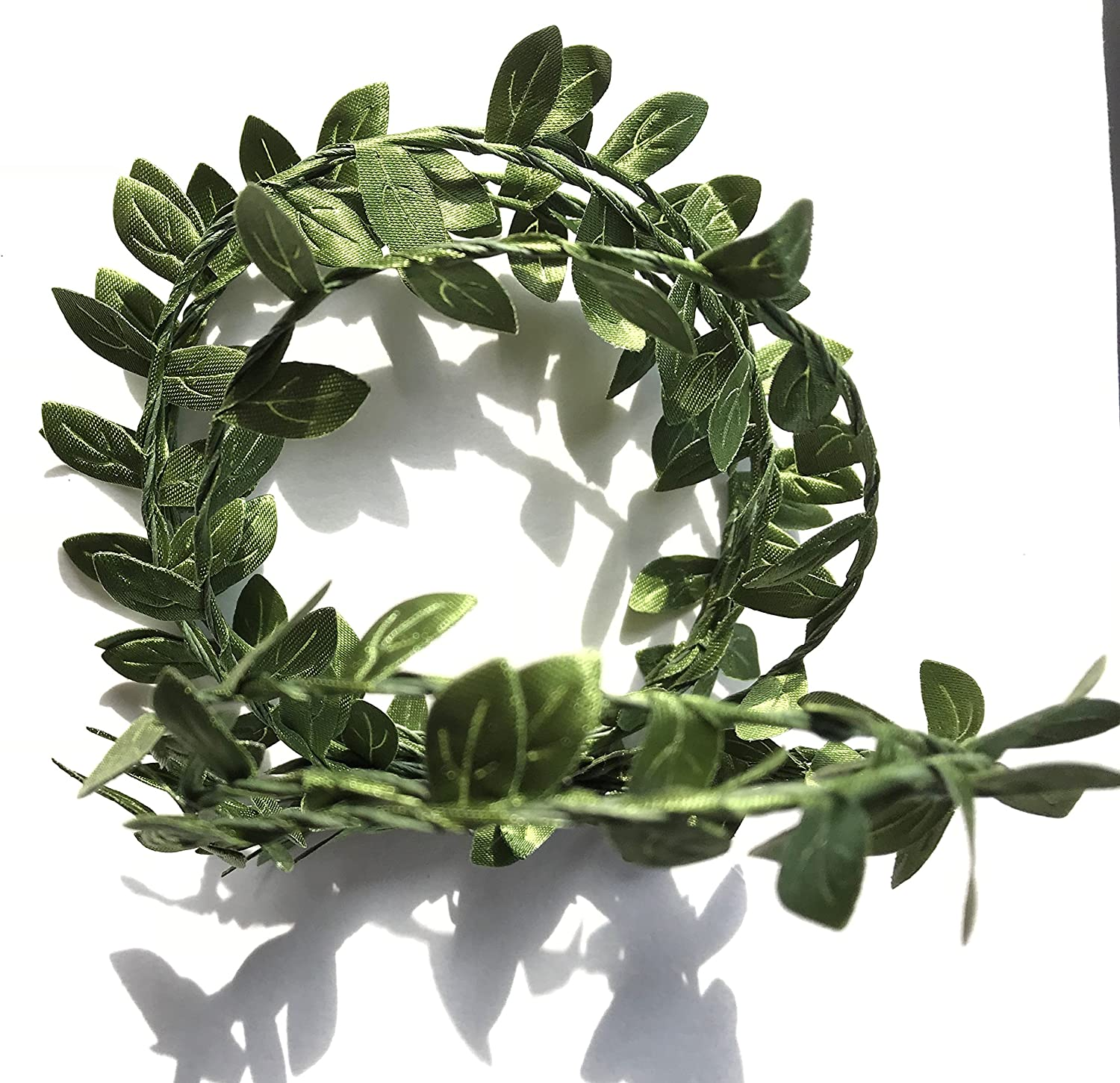 Elegant Blooms & Things Small Green Boxwood Leaf Faux Wire Garland, Home, Office, Wedding Decor, Wedding Cake Decor