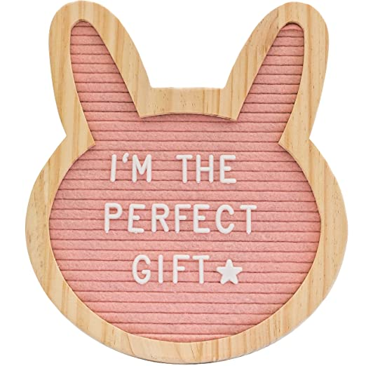 "Felt Letter Board- Pink Bunny 10"" x 10""- Baby Milestone Sign & Kids Room Décor. Perfect Shower Gift. 340 White Plastic Changeable Characters, Symbols, Emojis W/Canvas Bag & Free Gift"