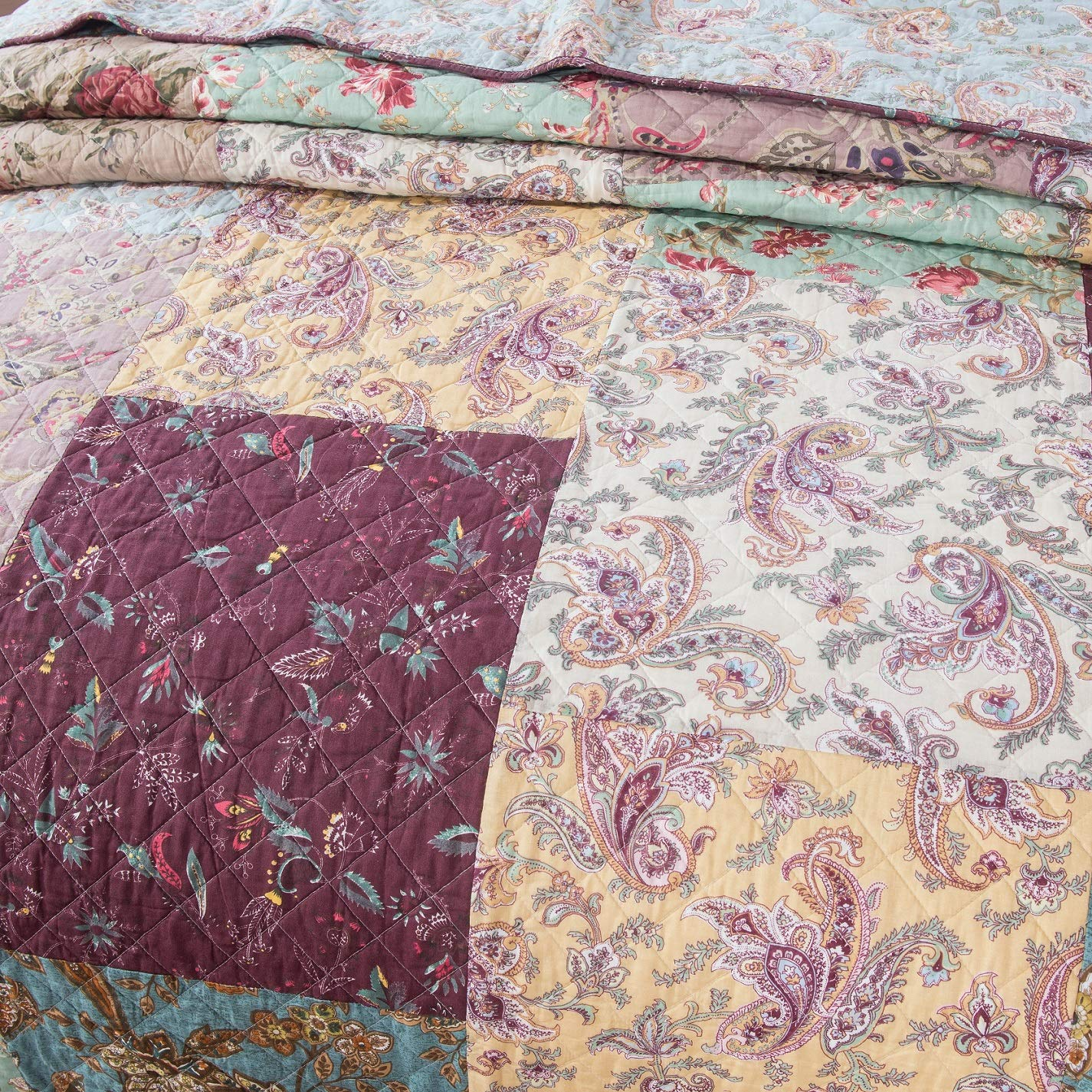 DaDa Bedding Bohemian Patchwork Bedspread - Burgundy Wine Velvety Trim - Vintage Floral Roses Paisley - Bright Vibrant Multi-Colorful Quilted Set - Queen - 3-Pieces by DaDa Bedding Collection (Image #4)