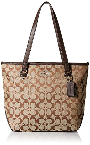 Amazon.com  Coach Signature 12CM Zip Top Tote - Khaki Mahogany  Shoes 15fad9893a163