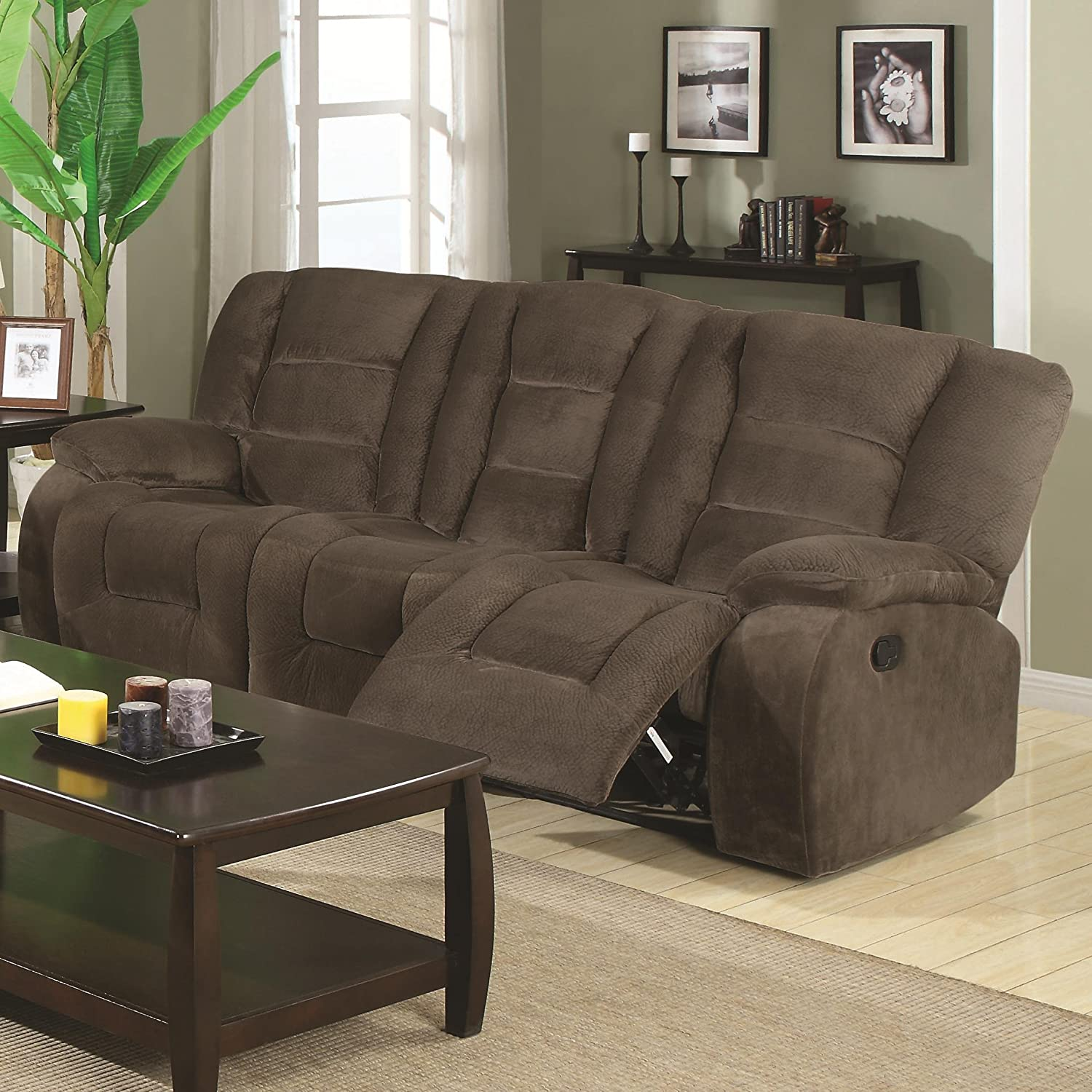 Amazon Coaster Home Furnishings Casual Motion Sofa Brown