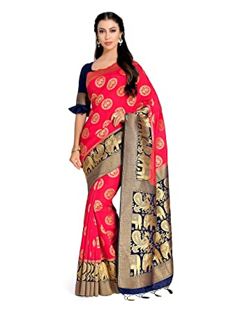 eed82fa317cc25 Amazon.com  Mimosa Art Silk Wedding Saree Kanjivarm Pattu Style with Contrast  Blouse Color  Pink (4245-2250-2D-STRW-NVY)  Clothing