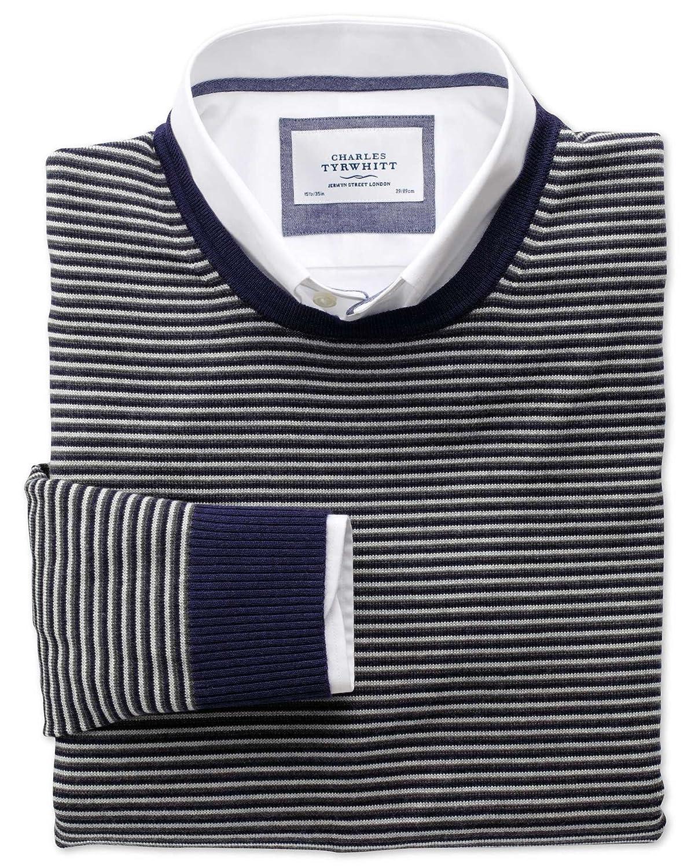 Charles Tyrwhitt Grey and charcoal stripe merino wool crew neck jumper