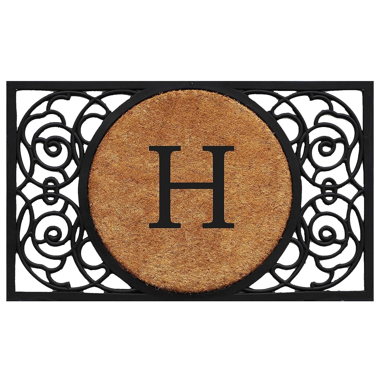 Black H Home & More 180032236G Armada Circle Monogram Doormat 22  X 36  (Letter G),