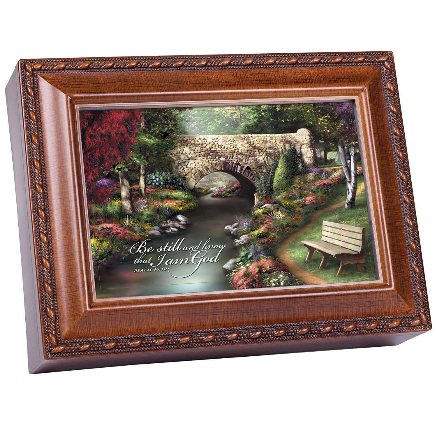 Cottage Garden Be Still Inspirational Woodgrain Traditional Music Box Plays Amazing Grace