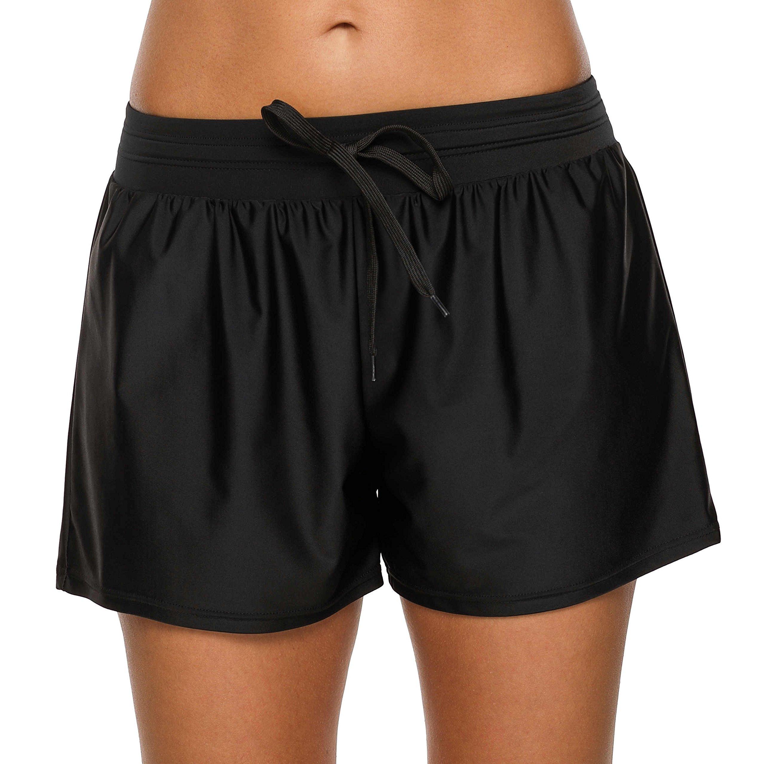 beautyin Womens Swim Bottoms Board Shorts Swimsuit Bathing Suit Shorts Black 2XL by beautyin (Image #1)