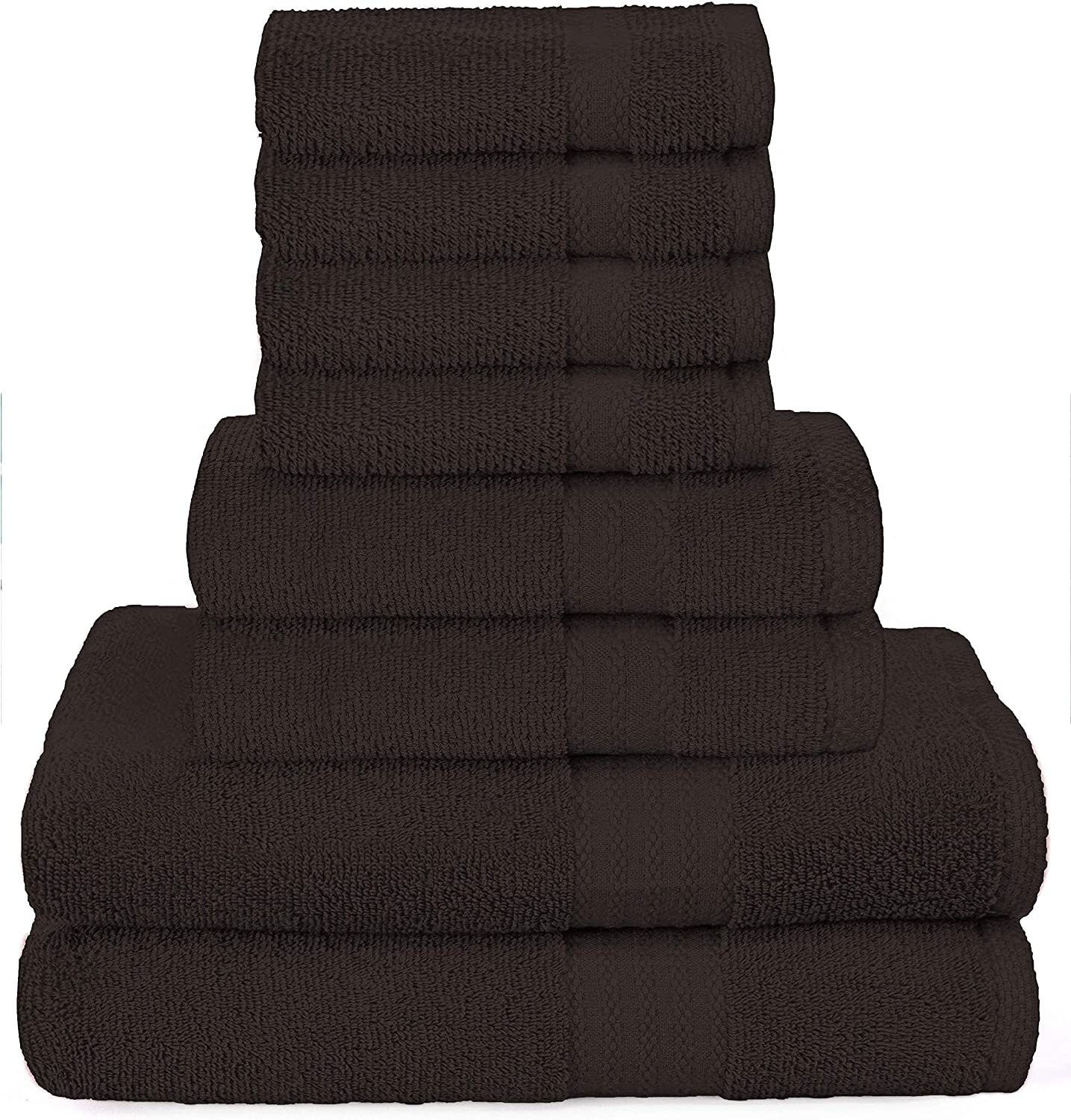 GLAMBURG Ultra Soft 8-Piece Towel Set - 100% Pure Ringspun Cotton, Contains 2 Oversized Bath Towels 27x54, 2 Hand Towels 16x28, 4 Wash Cloths 13x13 - Ideal for Everyday use - Chocolate Brown