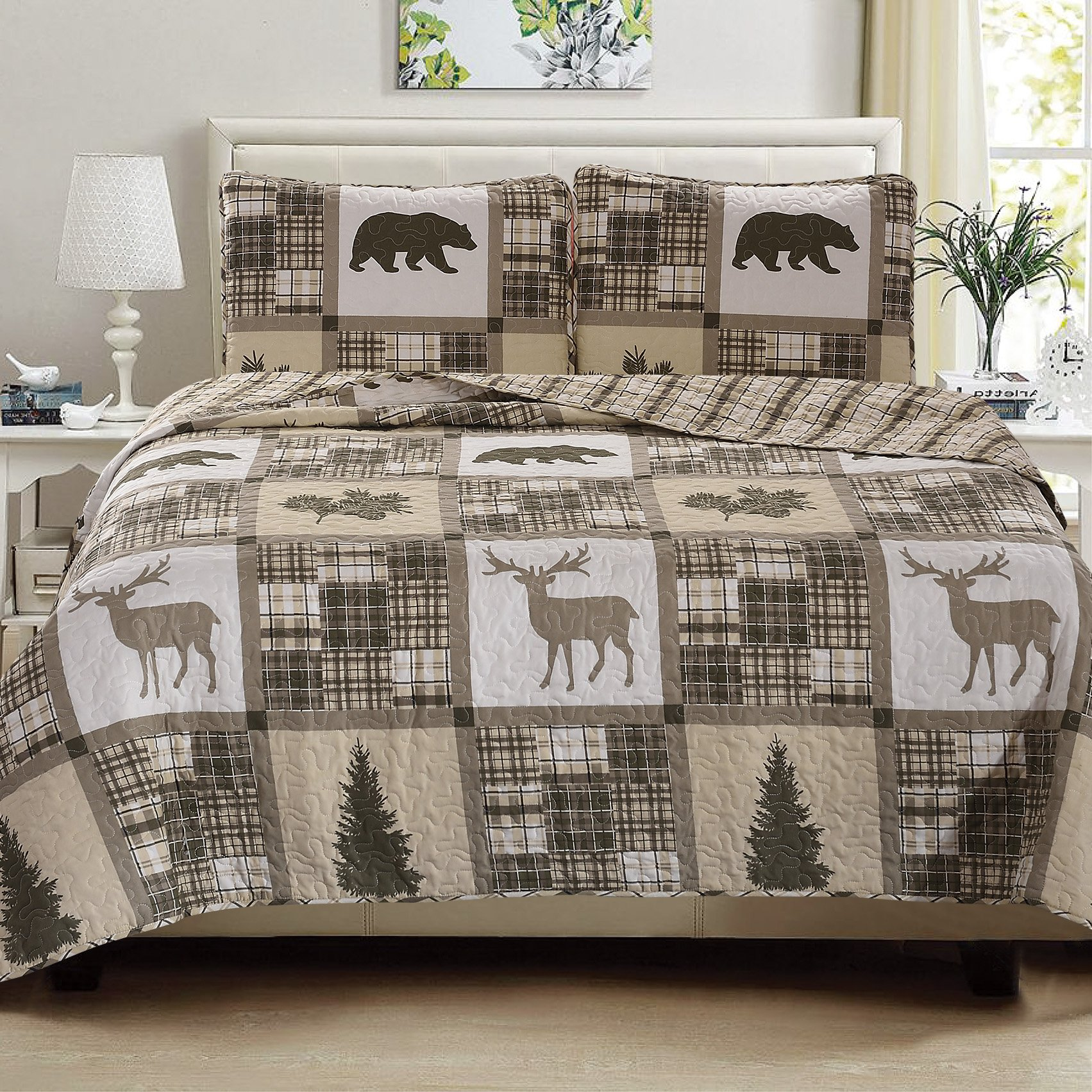 Great Bay Home 3-Piece Lodge Quilt Set with Shams. Durable Cabin Bedspread and Shams with Rustic Printed Pattern. Stonehurst Collection By Brand. (King)