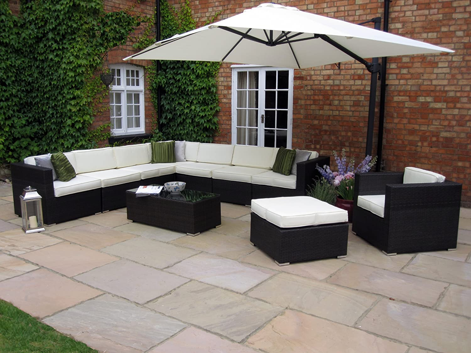 chloe luxury grey rattan garden furniture modular l shaped corner patio sofa armchair furniture set with free cover worth 200 whilst stocks last