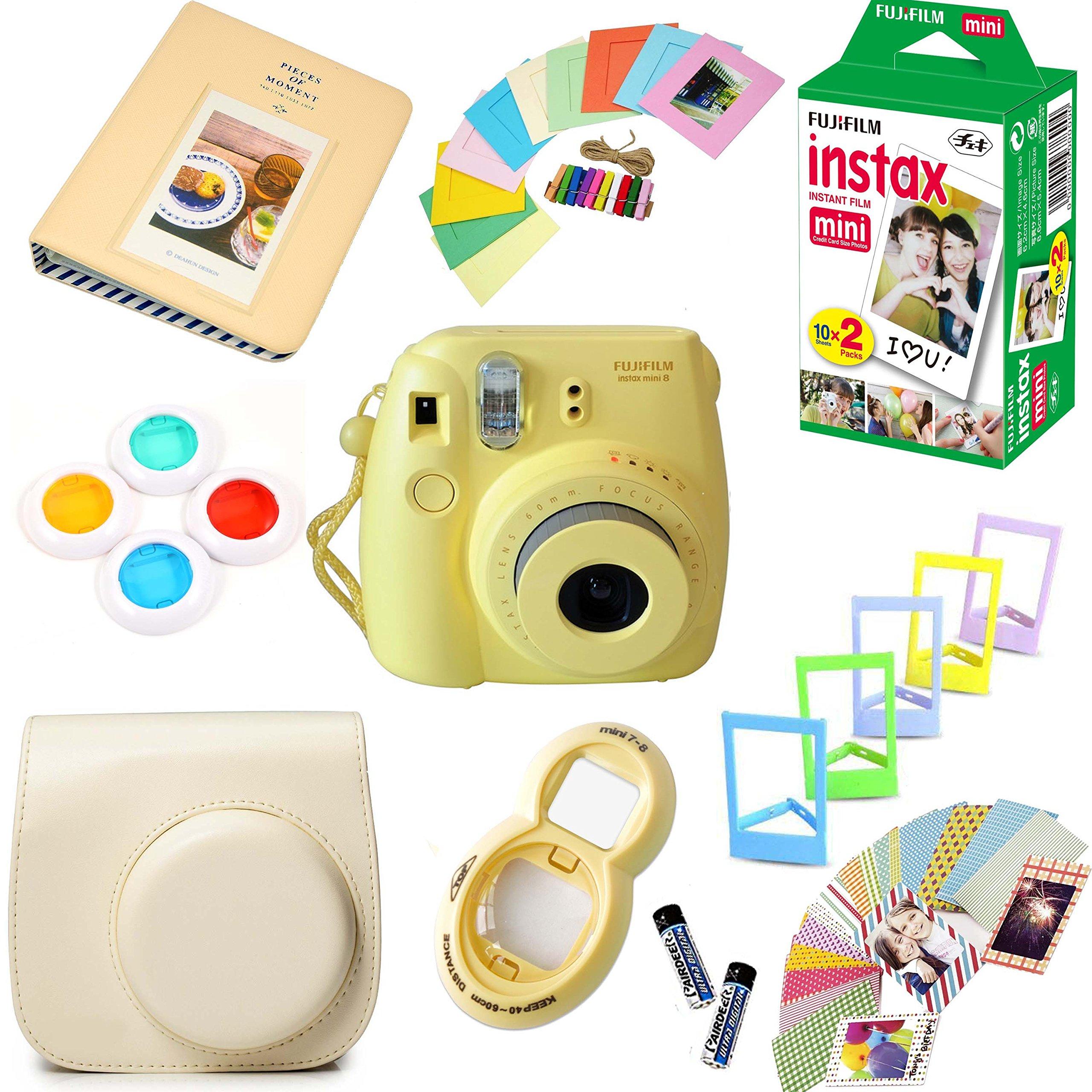 Fujifilm Instax Mini 8 Film Camera (Yellow) + Instax Mini Film (20 Shots) + Protective Camera Case + Selfie Lens + Filters + Frames Photix Decorative Design Kit by Fujifilm