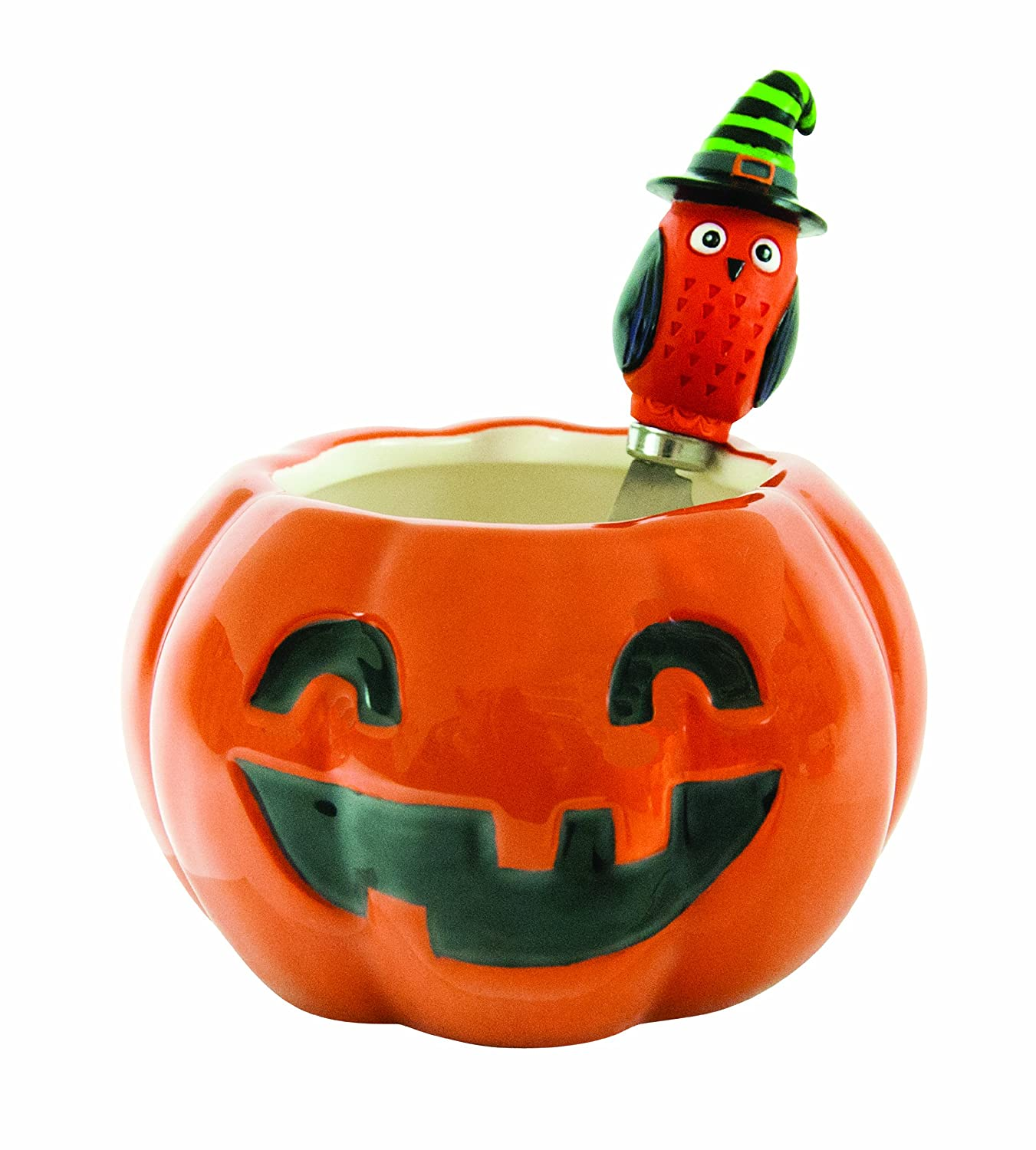 Boston Warehouse All Owl's Eve Pumpkin Dip Bowl and Spreader Set 20493