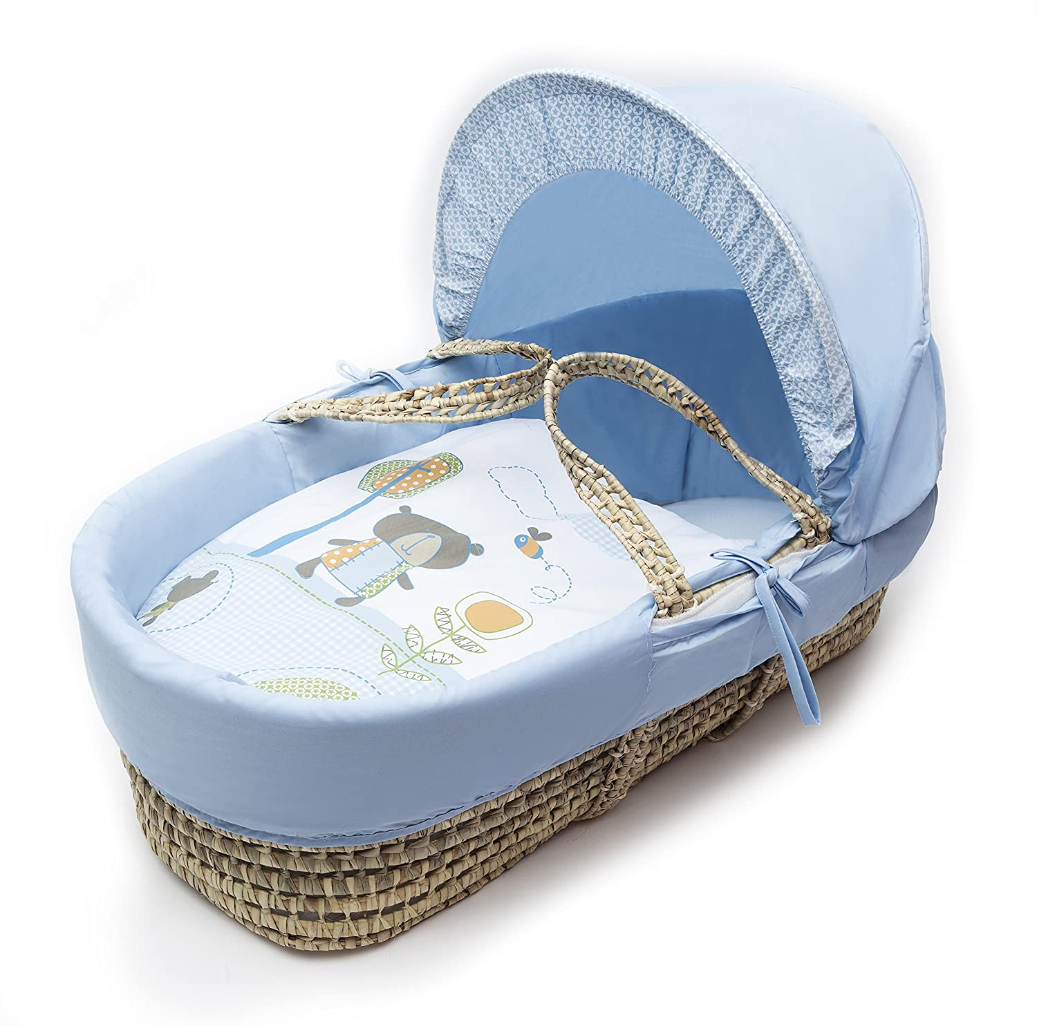 Beary Nice Blue Moses Basket Dressings only(Basket not included) Elegant Baby