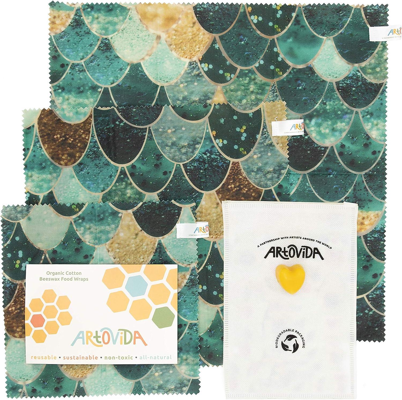 ARTOVIDA Premium Organic Designer Beeswax Food Wraps | Reusable & Biodegradable | No-Plastic Food Storage | Set of 3 Sizes | Monika Strigel from Germany - Really Mermaid