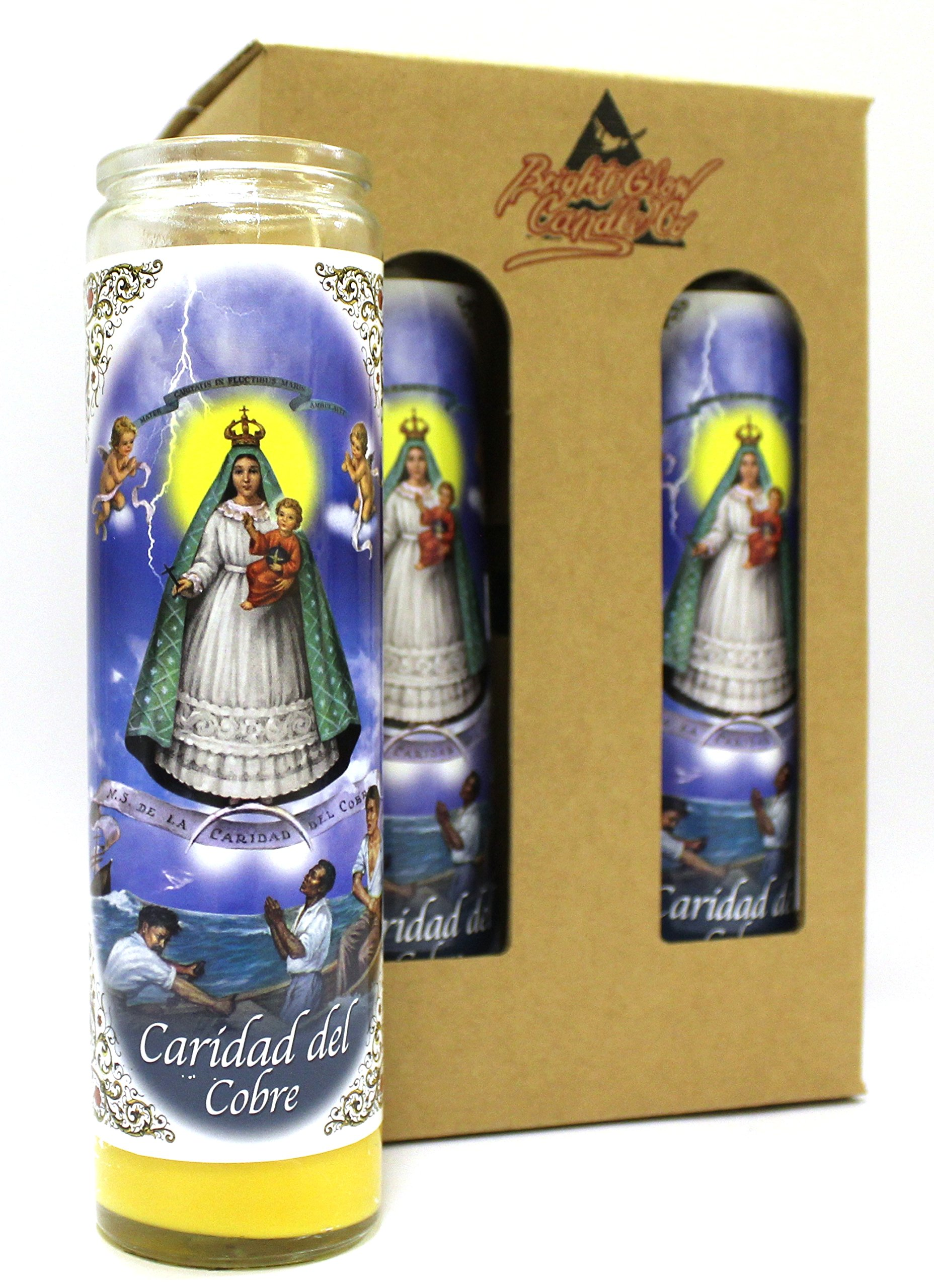 4-Pack Our Lady of Charity | 8'' Tall Unscented Religious Prayer Candles in Gift Box | Devotional | Spiritual | Virgen de la Caridad de Cobre Novena Vigil Candle, Yellow Wax | Christian Home Decor