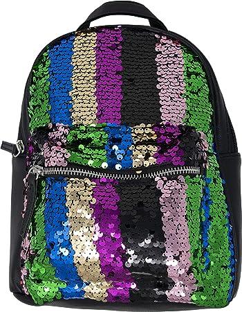 8869b5e0cd5 Amazon.com   BG-709-STRIPE-22 Mini Sequin Backpack - Stripe Green   Kids   Backpacks