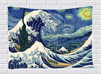 amazon com the great wave off kanagawa and starry night hanging