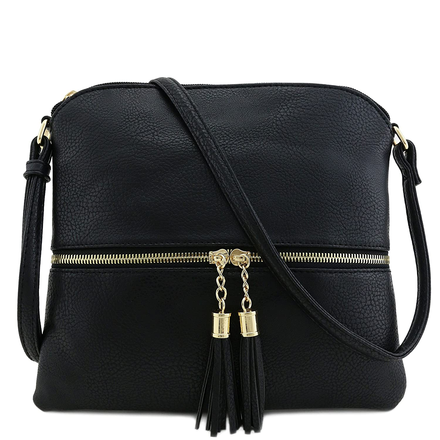 b71c20c8c0f6 Amazon.com  Tassel Accent Medium Crossbody Bag Black  Clothing