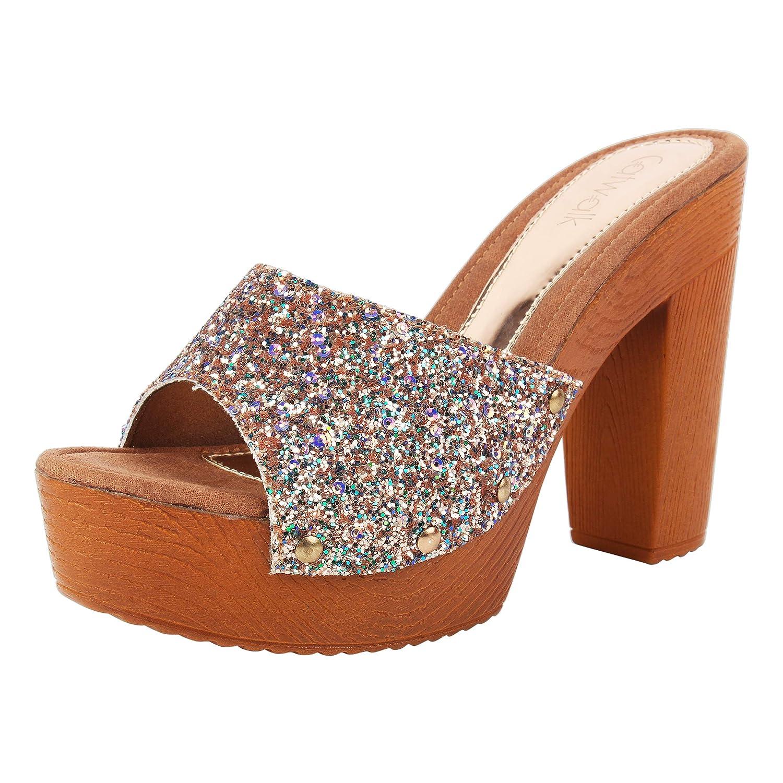 Glitter Front Platform Heels at Amazon