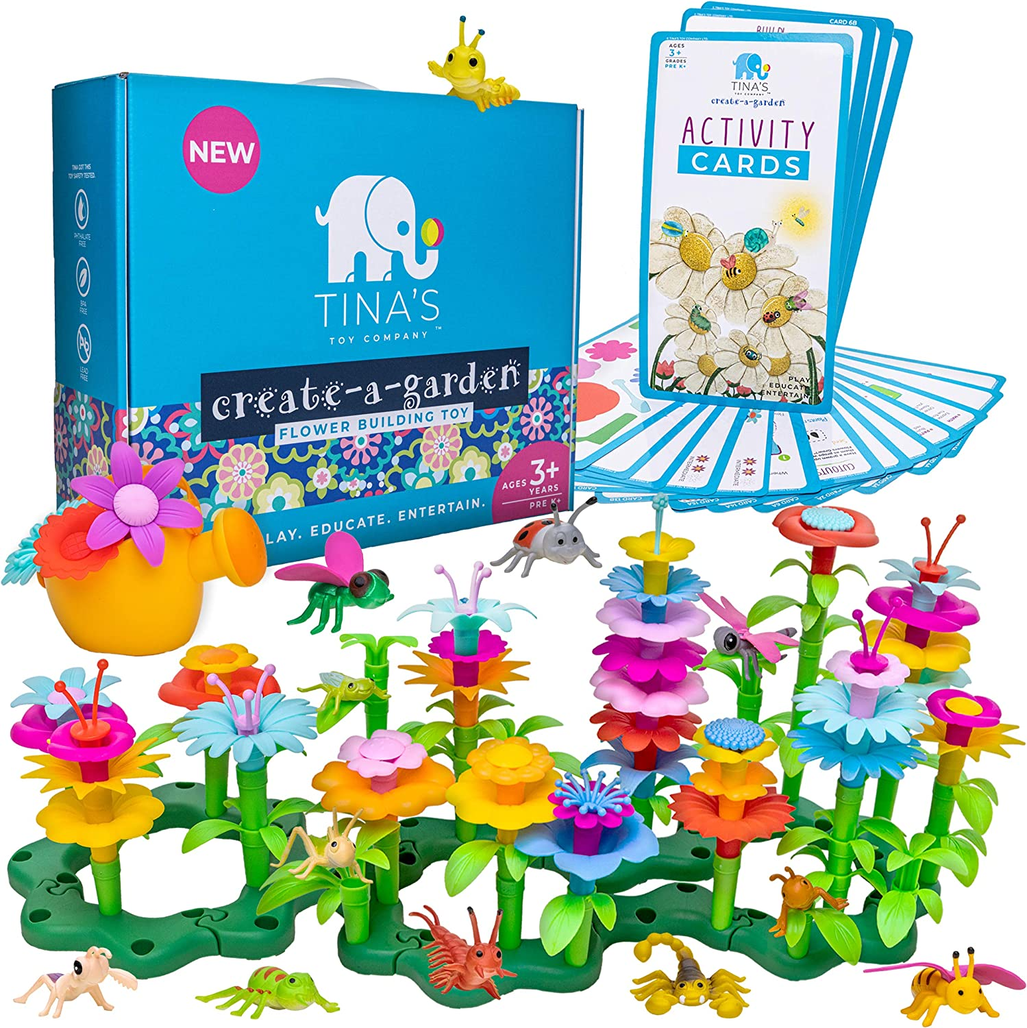 Flower Garden Building Toys Set, Educational Stem Toys for 3, 4, 5, 6 Year Old Girl, Arts and Crafts for Girls, Toddler Building Birthday Gift, Easter, Montessori Kindergarten Learning Kit for Kids