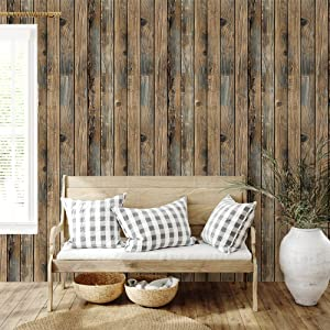 "ODS Wood Wallpaper Peel and Stick Backsplash 17.71""x 236.22"" Self-Adhesive Removable Shiplap Wallpaper Decorative Vintage Wood Panel for Bedroom"