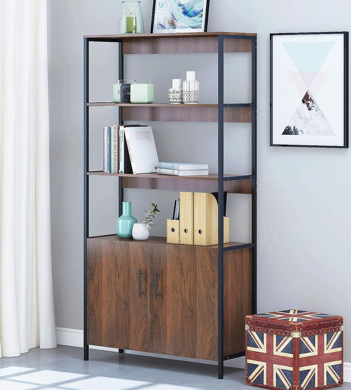 Spirich-4 Tier Open Shelf Bookcase, Home Office Bookshelf with Door,Bookcases and Book Shelves 4 Shelf with Doors,Walnut